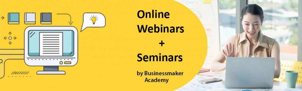 Training Schedule: Webinars by Business Maker Academy Philippines