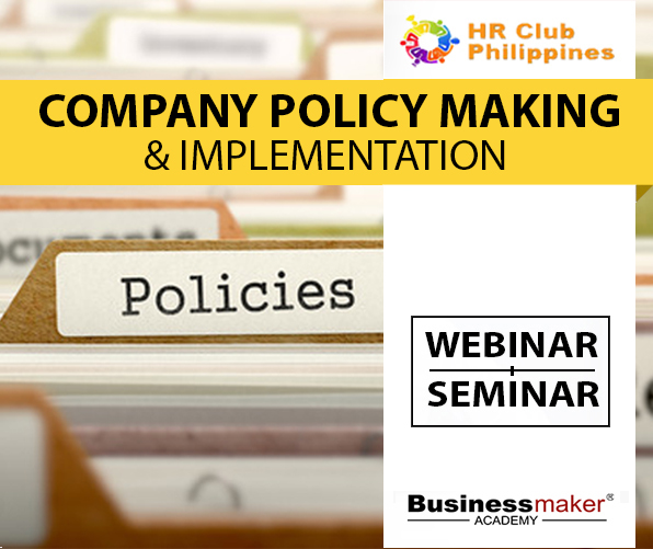 Company Policy Making Training Course by Business Maker Academy, Inc.
