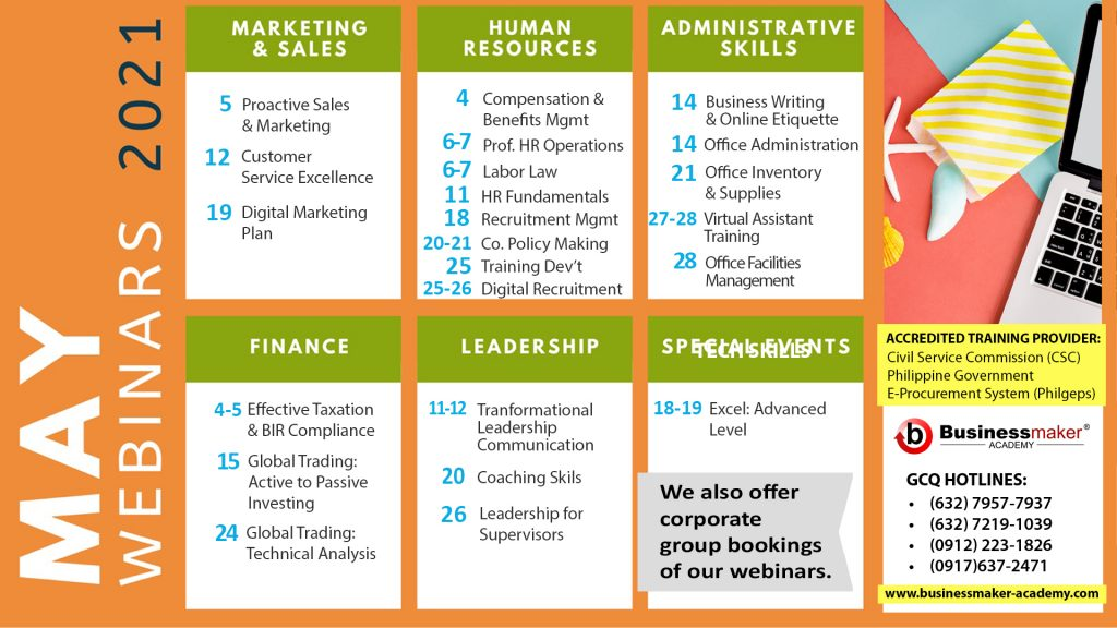 Webinar Calendar May 2021 by Businessmaker Academy Philippines